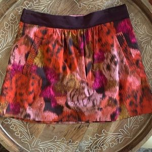 J. Crew Floral Abstract Watercolor Mini Skirt - 6